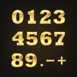 Set of golden numbers. Vector illustration. Stock Images