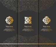 Set of golden ornamental flower emblems. Can be used for jewelry, beauty and fashion industry. Great for logo, monogram, invitation, flyer, menu, brochure Stock Photography