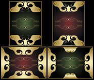 Set golden ornamental frames Royalty Free Stock Photo