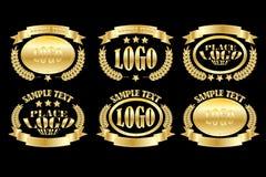 Gold_oval_badge_set vector illustration