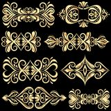 Set of golden page decoration elements Royalty Free Stock Photo
