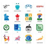 Set of golden peacock, ashok chakra, bhangra, apple tv, e waste, periodic table, 111, chainlink, black mamba icons. Set Of 16 simple  icons such as golden Stock Photo