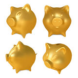 Set of Golden piggy bank. Stock Image