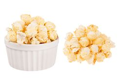 Set of golden popcorn as heap and in ceramics bowl isolated on white background. Fast food template for menu, advertising, cover Stock Photography