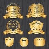 Set of Golden Premium Badges Label Template Royalty Free Stock Photo