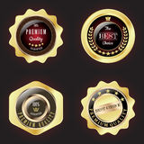 Set of Golden Premium Quality Badge. With stars design Royalty Free Stock Photography