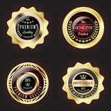 Set of Golden Premium Quality Badge. With stars design Stock Image
