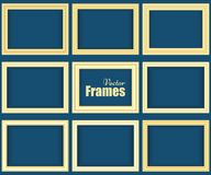 Set of golden realistic frames Royalty Free Stock Image