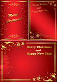 Set of golden and red christmas frames - vector Royalty Free Stock Photos