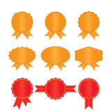 Set golden and red labels Royalty Free Stock Image