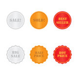 Set golden and red labels Stock Image