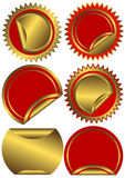 Set golden and red  labels  (vector) Stock Photography