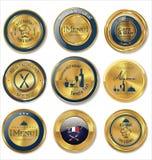 Set of golden restaurant labels Royalty Free Stock Image