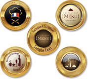 Set of golden restaurant labels Royalty Free Stock Photos