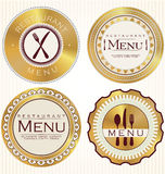 Set of golden restaurant labels Royalty Free Stock Photography