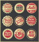 Set of golden retro badges. Royalty Free Stock Images