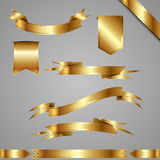 Set of golden ribbons and banners. Vector illustration. Royalty Free Stock Image
