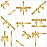 Set of Golden ribbons and bows for gift decoration. beautiful co Royalty Free Stock Image