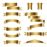 Set of golden ribbons on white background. Vector illustration Stock Images