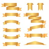 Set of golden ribbons on white background. Vector illustration.  Stock Illustration