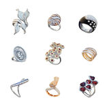 Set of golden rings with diamonds Royalty Free Stock Images