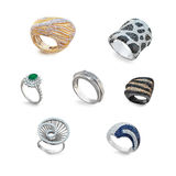 Set of golden rings with diamonds Stock Photo