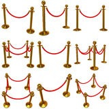 Set of golden rope barrier over white Royalty Free Stock Image