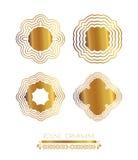 Set of golden round frames. Stock Photos
