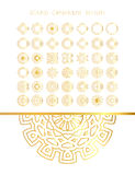 Set of golden round frames. Royalty Free Stock Images