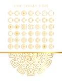 Set of golden round frames. Ornamental gold circle frames. Vintage round pattern. Filigree frame. Ornate label for design royalty free illustration