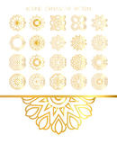 Set of golden round frames. Royalty Free Stock Image
