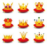 Set golden royal crowns, on red ceremonial pillow with tassels cartoon vector illustrations set isolated on white. Set golden royal crowns, on red ceremonial Stock Photo