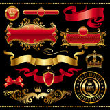 Set of golden royal design elements stock images