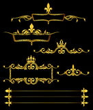 Set of golden royal frames and borders black background Royalty Free Stock Image