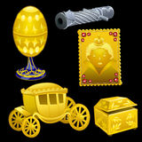 Set of golden Royal items on a black background Stock Photography