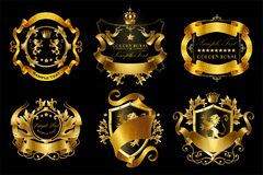 set of golden royal stickers or emblems stock images