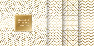 Set of golden seamless patterns. Vector texture design. Abstract seamless geometric pattern on white background. Simple. Minimalistic gold print collection. Web royalty free illustration