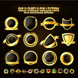 Set of Golden Shield, Stickers, Labels, Ribbons. Stock Photography