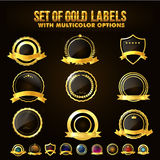 Set of Golden Shield, Stickers, Labels, Ribbons. Set of Golden Shield, Stickers, Labels, Ribbons with Multicolors options Royalty Free Stock Photo