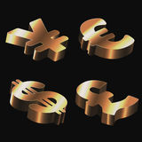 Set of golden signs with dollar, euro, pound sterl Royalty Free Stock Image
