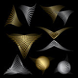Set of golden and silver abstract line symbols Stock Photos