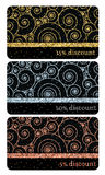 Set of golden, silver, bronze glitter discount cards templates Royalty Free Stock Images