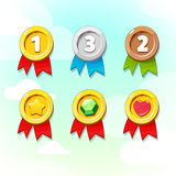 Set of Golden, Silver and Bronze Medals Royalty Free Stock Images