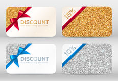 Set of golden and silver glitter discount cards Stock Photo