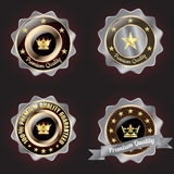 Set of Golden-Silver Premium Quality badge. With stars design Royalty Free Stock Photography