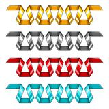 Set of golden, silver, red and blue decorative spiral ribbons banners. Vector illustration. vector illustration