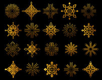 Set of golden snowflakes Stock Images