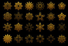 Set of golden snowflakes Stock Photography