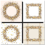 Set of Golden square frames on black background Stock Photography