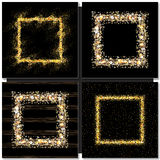 Set of Golden square frames on black background. Gold sparkles on black background. Gold glitter vector Royalty Free Stock Photo